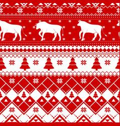 seamless christmas pattern - varied xmas cows vector image