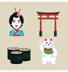 Set icon japan traditional culture design vector