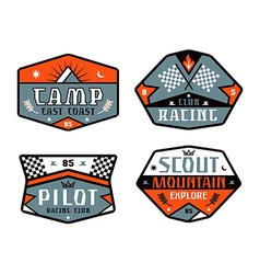 Set of race and camping patch vector