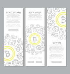 Set of three digital money and bitcoin vertical vector