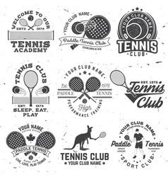 Set paddle tennis and tennis badge emblem or vector