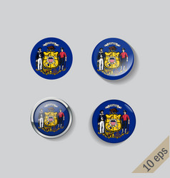 set round buttons with image wisconsin vector image