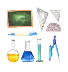 Set watercolor school supplies on white vector