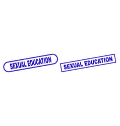 Sexual education blue rectangle seal with unclean vector