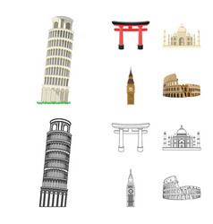 sights of different countries cartoonoutline vector image