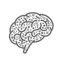 silhouette brain with icons vector image