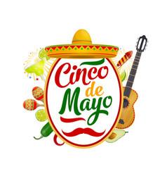 sombrero maracas guitar mexican cinco de mayo vector image