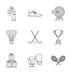 Sports stuff icons set outline style vector