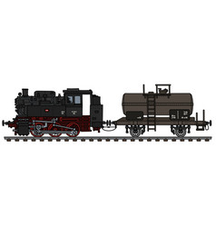 Steam locomotive and tank wagon vector