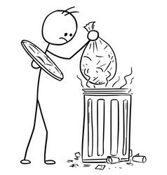 stick man cartoon of men throwing waste trash bag vector image