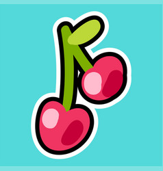 sticker with cherry vector image