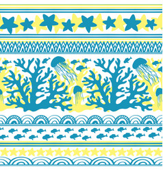 stripe seamless pattern with sea underwater vector image