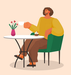 Stylish man sitting on soft armchair at home vector