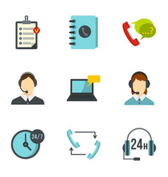support help desk icons set flat style vector image