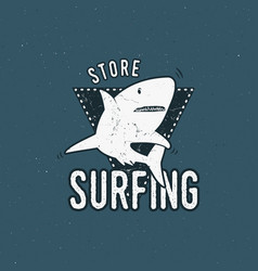 surfing store emblem design shark on a triangle vector image