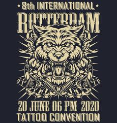 Tattoo fest in rotterdam monochrome poster vector
