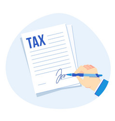 Tax form signing corporate taxes report vector