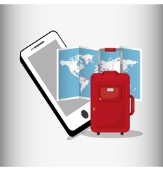 travel smartphone map red suitcase vector image