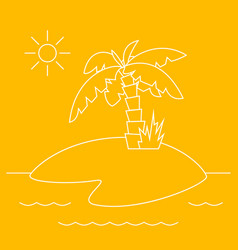 tropical island with palm tree linear style vector image