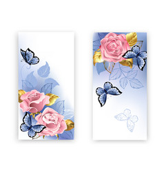 two banners with pink roses vector image