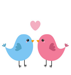Two bird couple pink heart happy valentines day vector