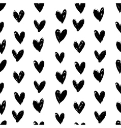 Valentines pattern with hand painted hearts vector