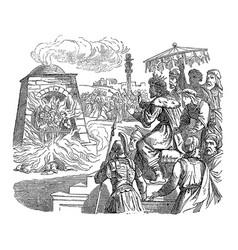 Vintage drawing biblical story three jews vector