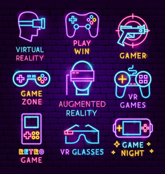 Vr games neon label set vector
