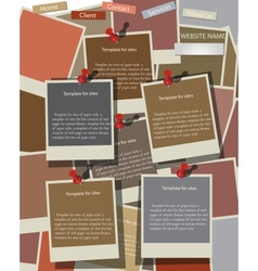 Website design template on instant photos vector image