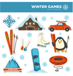 winter games sports and pastime hobbies set vector image