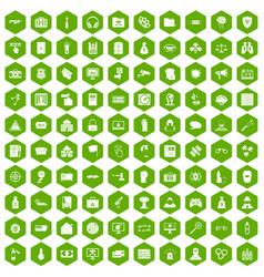 100 hacking icons hexagon green vector image vector image