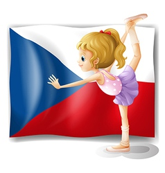 A girl performing ballet in front of the Czech vector image vector image
