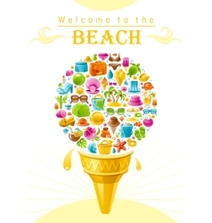 Beach sea summer design with travel symbols icon vector image