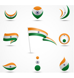 flags and icons of india vector image vector image