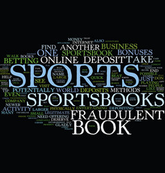 Fraudulent sports books text background word vector