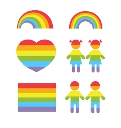 Gay pride rainbow heart and colors shapes vector
