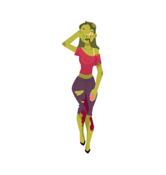 girl woman dressed as zombie monster halloween vector image vector image