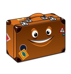 Happy travel brown leather suitcase vector image