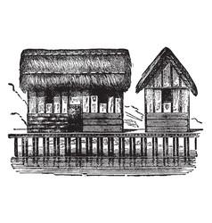 Lake dwellings shore of a lake vintage engraving vector