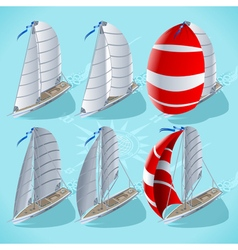 Sail Boat Set 01 Vehicle Isometric vector image