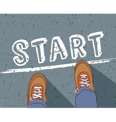Start line young man begin way vector image vector image