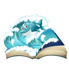 A book with a smiling shark vector image