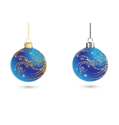 Christmas balls decoration with silver and gold vector image vector image