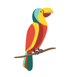 colorful parrot on branch vector image vector image