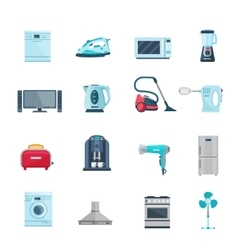 Flat Color Icons Set Of Household Appliances vector image