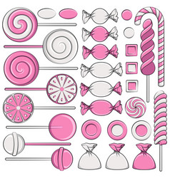 set of color with pink sweets vector image