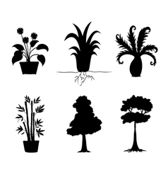 Tree Plants Silhouettes Collection vector image