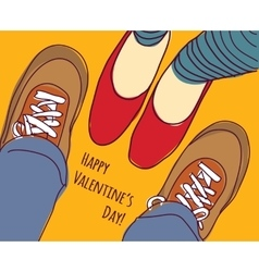 Valentines greeting card young man and woman vector image