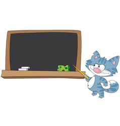 cat with a pointer and blackboard vector image vector image