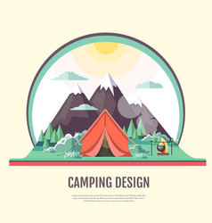 flat design of vintage landscape and camping tent vector image vector image